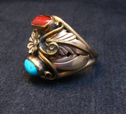 Image 2 of Vintage Navajo Turquoise Coral Sterling Silver and Gold Ring sz13, AJ Platero