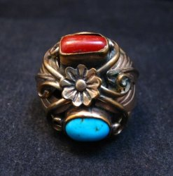 Vintage Navajo Turquoise Coral Sterling Silver and Gold Ring sz13, AJ Platero