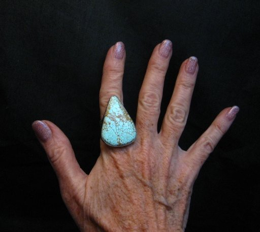 Image 7 of Huge Number 8 Turquoise Ring by Navajo Verdy Jake sz9 adjustable