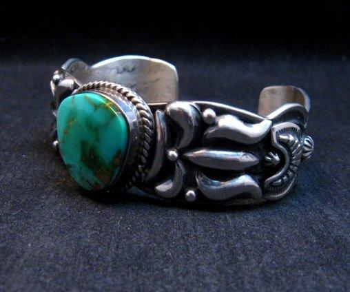 Image 1 of Darryl Becenti Navajo Royston Turquoise Silver Bracelet