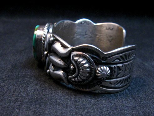 Image 3 of Darryl Becenti Navajo Royston Turquoise Silver Bracelet