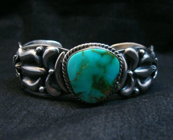 Image 6 of Darryl Becenti Navajo Royston Turquoise Silver Bracelet