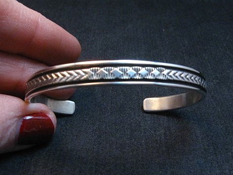 Image 0 of Narrow Native American Navajo Silver Stacker Cuff Bracelet Bruce Morgan