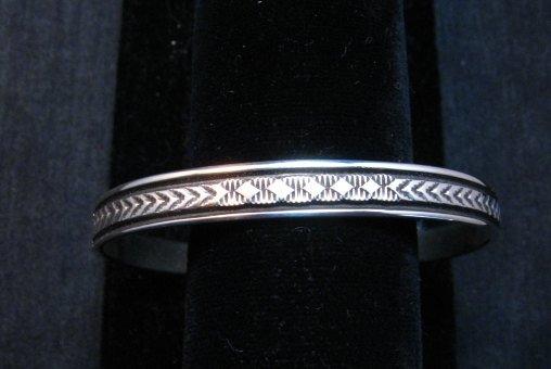 Image 1 of Narrow Native American Navajo Sterling Silver Cuff Bracelet Bruce Morgan