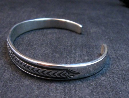 Image 2 of Narrow Native American Navajo Silver Stacker Cuff Bracelet Bruce Morgan