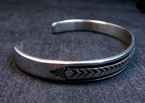 Image 3 of Narrow Native American Navajo Silver Stacker Cuff Bracelet Bruce Morgan