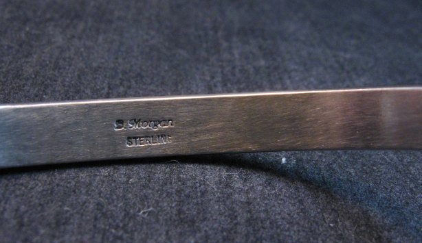 Image 4 of Narrow Native American Navajo Sterling Silver Cuff Bracelet Bruce Morgan