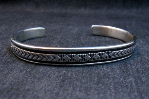 Image 5 of Narrow Native American Navajo Silver Stacker Cuff Bracelet Bruce Morgan