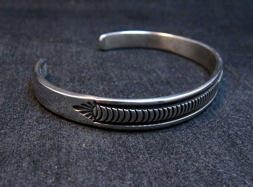 Image 2 of Native American Navajo Sterling Silver Cuff Bracelet by Bruce Morgan