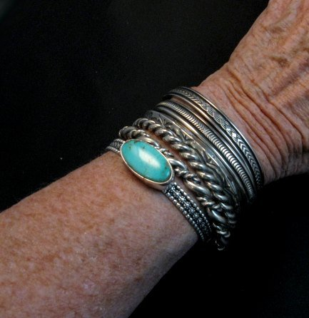 Image 6 of Native American Navajo Sterling Silver Cuff Stacker Bracelet by Bruce Morgan