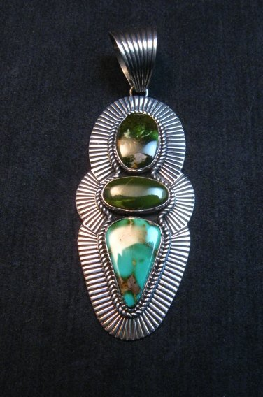 Image 3 of Gorgeous Navajo Royston Turquoise Silver Pendant by Albert Jake