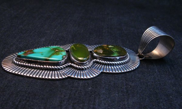 Image 4 of Gorgeous Navajo Royston Turquoise Silver Pendant by Albert Jake