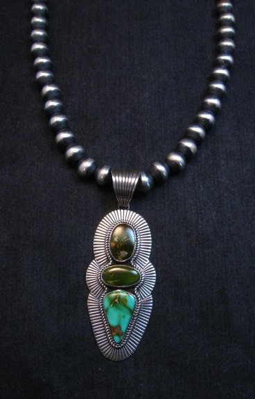 Image 1 of Gorgeous Navajo Royston Turquoise Silver Pendant by Albert Jake
