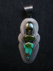 A++ Gorgeous Navajo Royston Turquoise Silver Pendant by Albert Jake
