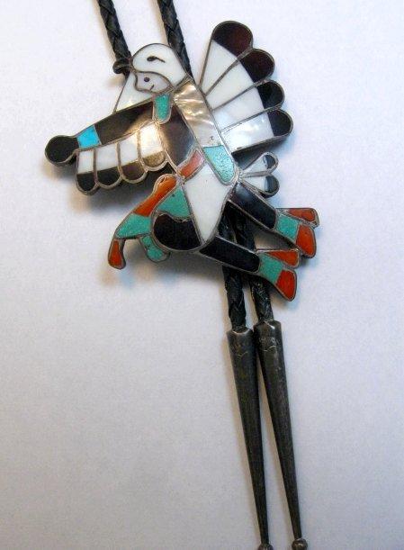 Image 2 of WM Zunie ~ Vintage Zuni Inlay Eagle Dancer Bolo Tie