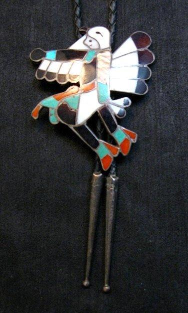 Image 1 of WM Zunie ~ Vintage Zuni Inlay Eagle Dancer Bolo Tie