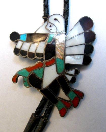 Image 0 of WM Zunie ~ Vintage Zuni Inlay Eagle Dancer Bolo Tie
