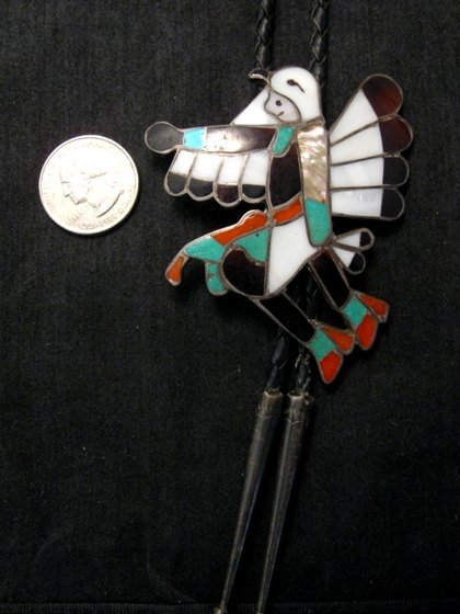 Image 4 of WM Zunie ~ Vintage Zuni Inlay Eagle Dancer Bolo Tie