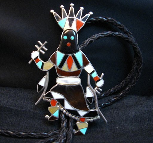 Image 0 of Large Vintage Zuni Vera Luna Apache Mountain Spirit Gahn Dancer Bolo