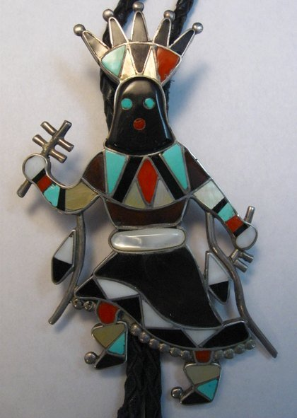 Image 1 of Large Vintage Zuni Vera Luna Apache Mountain Spirit Gahn Dancer Bolo
