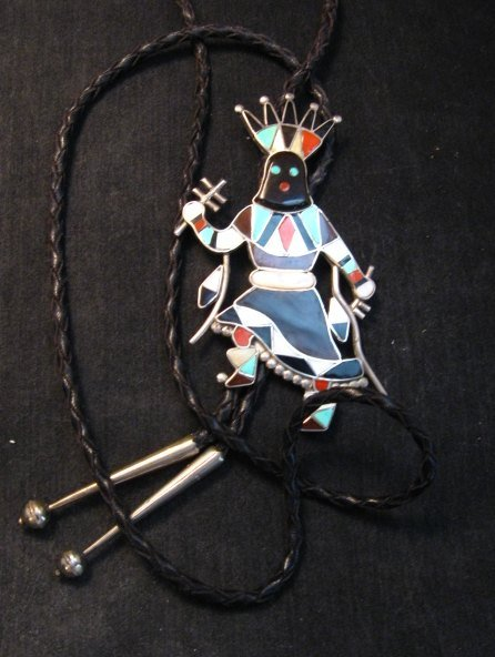 Image 2 of Large Vintage Zuni Vera Luna Apache Mountain Spirit Gahn Dancer Bolo