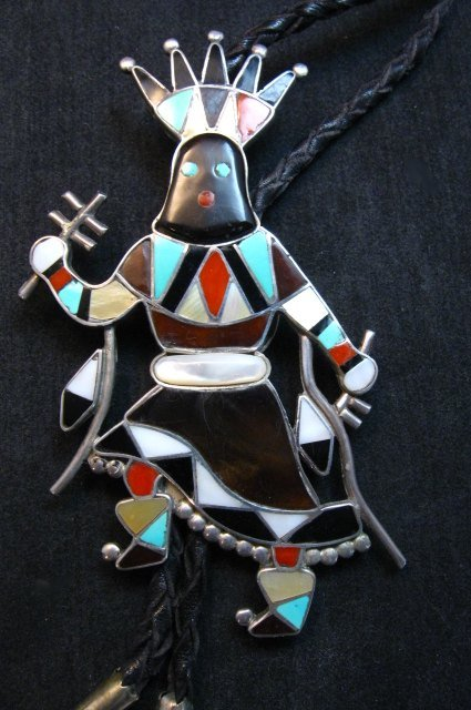 Image 5 of Large Vintage Zuni Vera Luna Apache Mountain Spirit Gahn Dancer Bolo