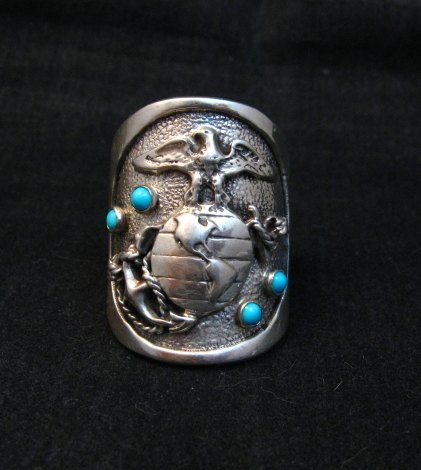 Image 0 of Native American Turquoise Sterling Silver USMC Ring, Eugene Gruber, sz11-1/2