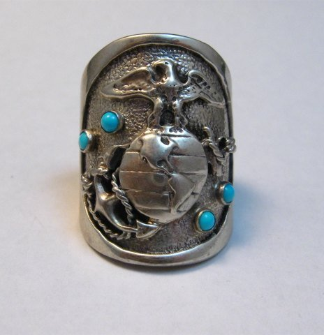 Image 1 of Native American Turquoise Sterling Silver USMC Ring, Eugene Gruber, sz11-1/2
