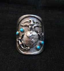 Native American Turquoise Sterling Silver USMC Ring, Eugene Gruber, sz11-1/2