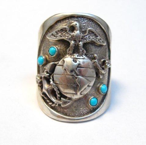 Image 1 of Navajo Turquoise Sterling Silver USMC Ring, Eugene Gruber, sz13-1/4