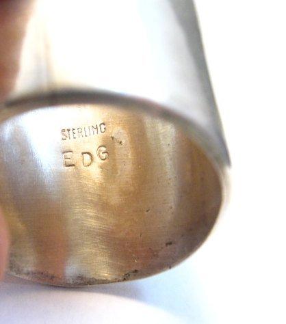 Image 5 of Navajo Turquoise Sterling Silver USMC Ring, Eugene Gruber, sz13-1/4