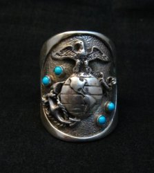 Navajo Turquoise Sterling Silver USMC Ring, Eugene Gruber, sz13-1/4