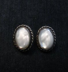 Vintage Native American Mother of Pearl Earrings, Clip-on