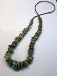Vintage Southwestern Chunky Turquoise Nugget Necklace 32'' long
