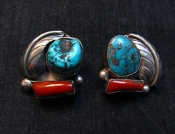 Vintage Native American Navajo Turquoise Coral Earrings, Clip-on