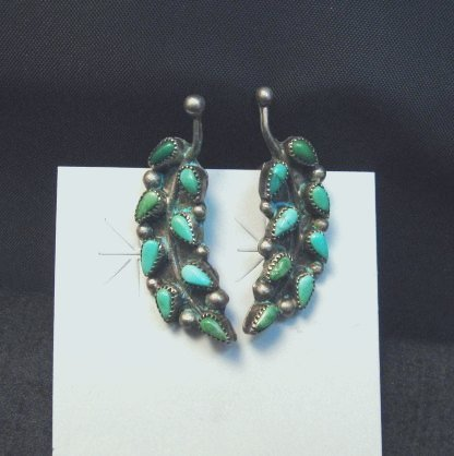 Image 1 of Vintage Native American Zuni Turquoise Earrings, Screw-backs damaged