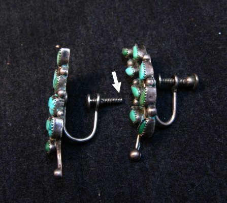 Image 2 of Vintage Native American Zuni Turquoise Earrings, Screw-backs damaged