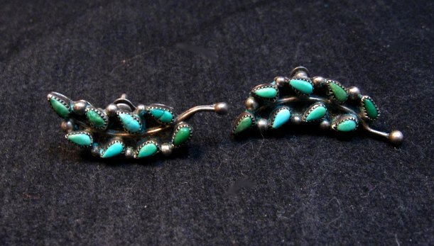 Image 3 of Vintage Native American Zuni Turquoise Earrings, Screw-backs damaged