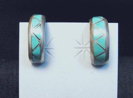 Image 0 of Vintage Zuni Turquoise Inlay Half-Hoop Clip-on Earrings