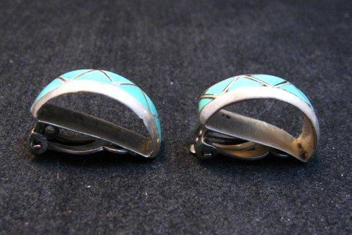 Image 1 of Vintage Zuni Turquoise Inlay Half-Hoop Clip-on Earrings