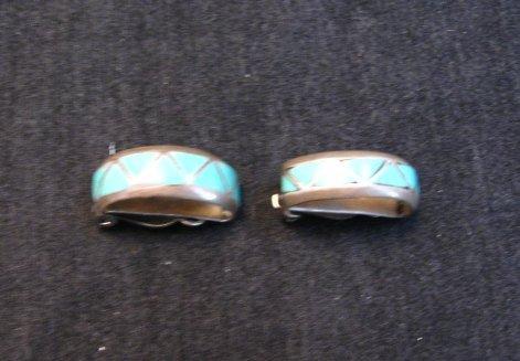 Image 2 of Vintage Zuni Turquoise Inlay Half-Hoop Clip-on Earrings