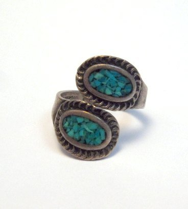 Image 0 of Vintage Native American Wrap-around Turquoise Chip Inlay ring sz3 to sz5