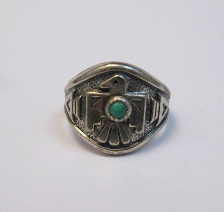Image 0 of Vintage Silver and Turquoise Thunderbird Ring, Bell Trading Post, sz6