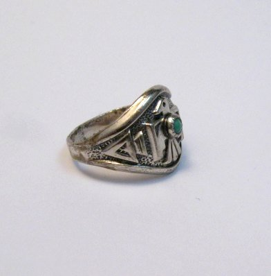 Image 1 of Vintage Silver and Turquoise Thunderbird Ring, Bell Trading Post, sz6