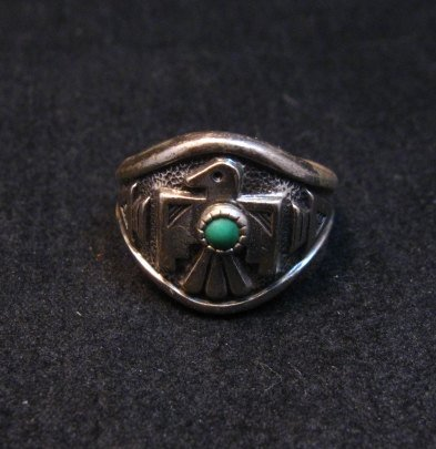 Image 4 of Vintage Silver and Turquoise Thunderbird Ring, Bell Trading Post, sz6