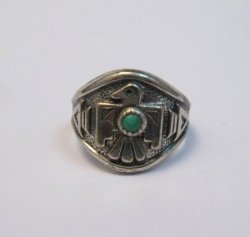 Vintage Silver and Turquoise Thunderbird Ring, Bell Trading Post, sz6