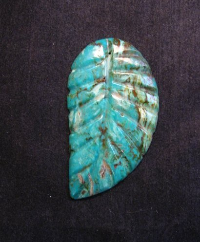 Image 0 of Big Vintage Carved Turquoise Leaf Pendant