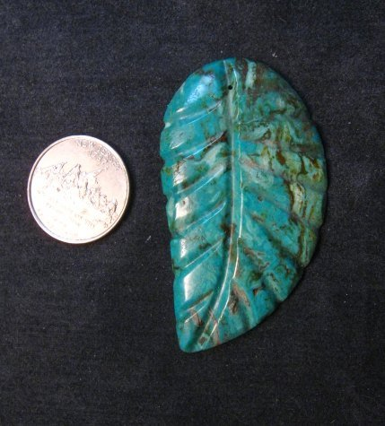 Image 1 of Big Vintage Carved Turquoise Leaf Pendant