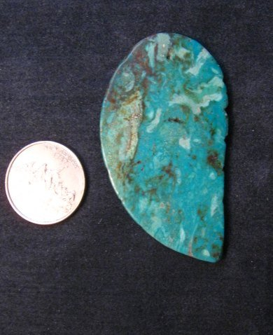 Image 2 of Big Vintage Carved Turquoise Leaf Pendant