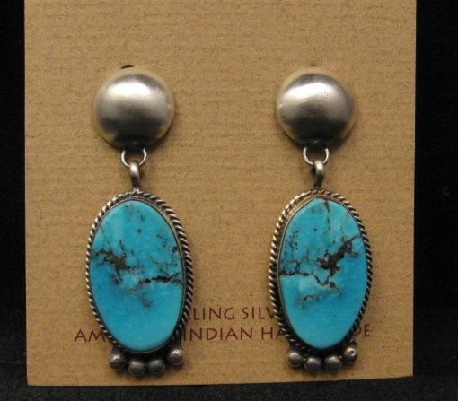 Image 0 of Navajo Native American Turquoise Silver Earrings, Selena Warner